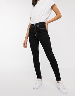 Erin skinny high rise ankle grazer jean with contrast stitching-Black