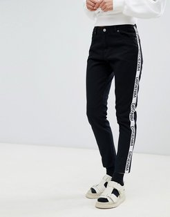 Pepper high rise jean with logo tape-Black