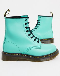 1460 leather flat ankle boots in peppermint-Green