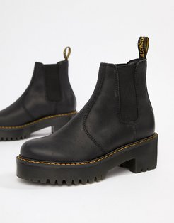 Rometty Black Leather Chunky Heeled Chelsea Boots