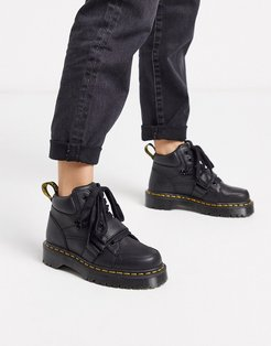 Zuma with buckle strap flat ankle boots in black