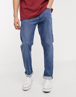 ED45 tapered fit jeans in washed blue denim