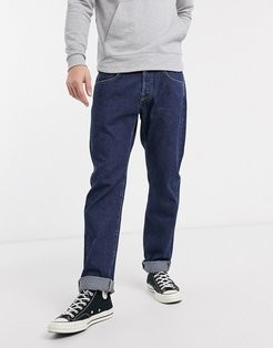 ED55 regular tapered fit jeans in rinsed denim-Blue