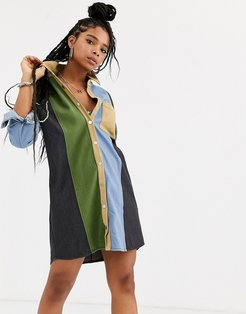 shirt dress in contrast panels-Multi