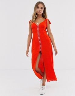 tie shoulder maxi dress with eyelet trim-Red
