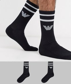 2 pack logo sports socks in black