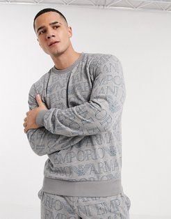 all over text print crew neck sweat in grey-Gray