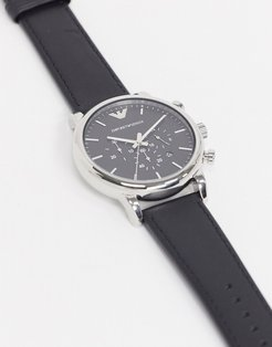 AR1828 Luigi leather watch in black