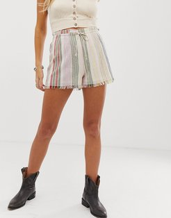 En Creme high waist shorts with drawstring waist in tonal stripe two-piece-Multi