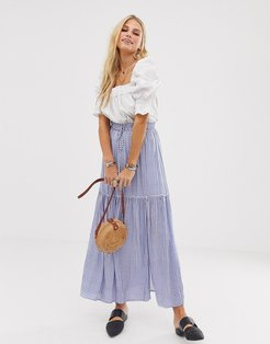 En Creme maxi skirt in gingham with thigh split and tie waist-Blue