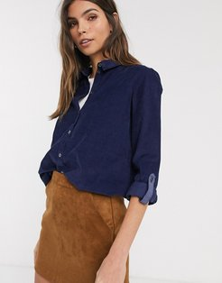baby cord shirt with pocket detail in navy