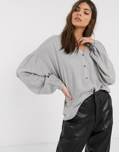 drop shoulder blouse in gray