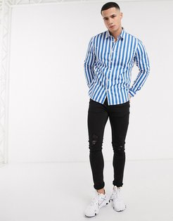 long sleeve stripe shirt in blue