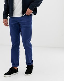 straight fit 5 pocket twill pants in blue