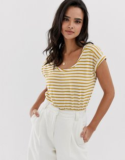 stripe crew neck t-shirt with turn up sleeve yellow