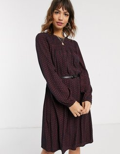 woven midi dress in red and black print