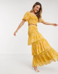 tiered ruffle maxi skirt two-piece in mustard floral-Yellow