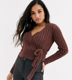 fluffy knit fitted cardigan-Brown