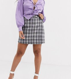 tailored aline mini skirt coord in check-Gray