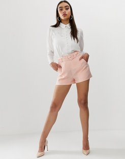 tailored shorts in pinstripe-Pink