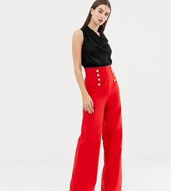 wide leg pants with gold button detail in red