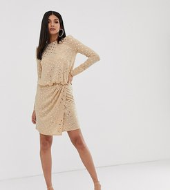 wrap front mini dress with statement shoulder in gold sequin-Black