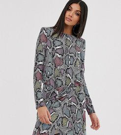 wrap front mini dress with statement shoulder in multi snake