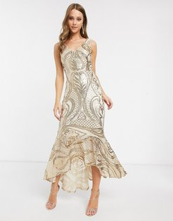 sequin maxi dress with high low hem in gold