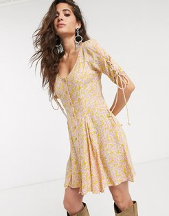 laced up floral buttondown mini dress-Pink