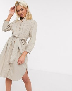 belted shirt dress-Brown