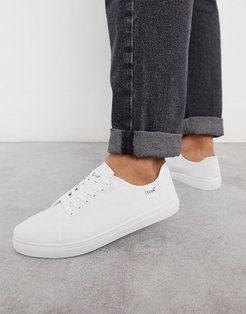 canvas lace up plimsoll-White
