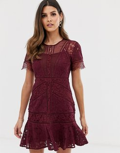 Chante lace midi dress-Red