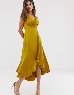 cowl neck midi dress-Gold