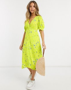 floral printed midi tea dress-Green