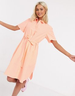 gingham check belted mini shirt dress recycled-Orange