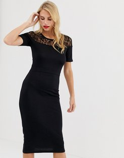 Leah Lace sleeveless midi dress-Black