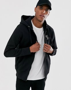 logo hooded zip through-Black