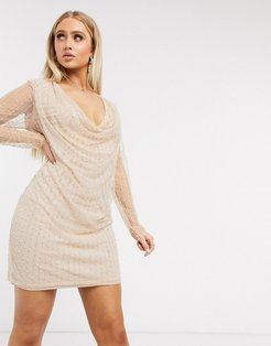 Club long sleeve deep cowl neck dress with pearl embellishment in blush-Pink