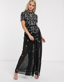 Frock & Frill embellished short sleeve chiffon skirt maxi dress-Black