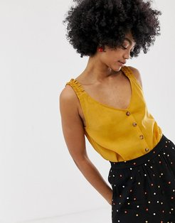 Arienne top with frill and button front-Yellow