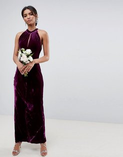 bridesmaid maxi dress with keyhole detail-Purple
