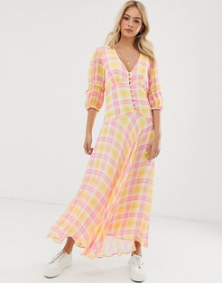 check print midi dress with puff sleeves-Multi
