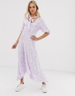 hanky hem floral midi dress with button front and tie neck-Purple