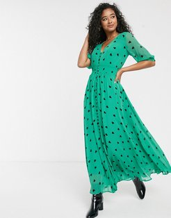 Valentina heart print maxi dress-Green
