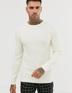 Premium Muscle Fit Crew Neck Cable Sweater-Cream