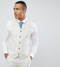 TALL Skinny Fit Wedding Windowpane Check Suit vest-Cream