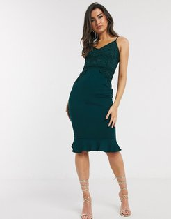 lace top frill hem midi dress in green