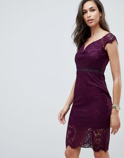 off the shoulder lace dress-Purple