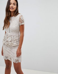 short sleeve crochet lace peplem dress-Stone