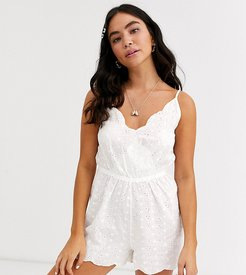 Exclusive broderie beach romper in white
